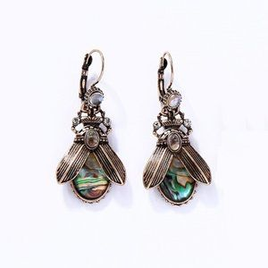 Boho Iridescent Abalone Insect Drop Earrings